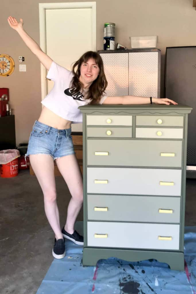 50+ year old chest of drawers comes to life with new paint and hardware!