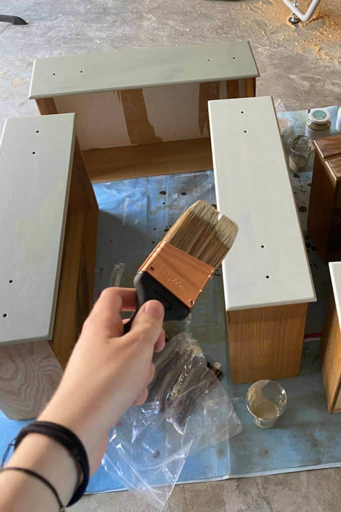 Painting chest of drawers, drawer fronts.