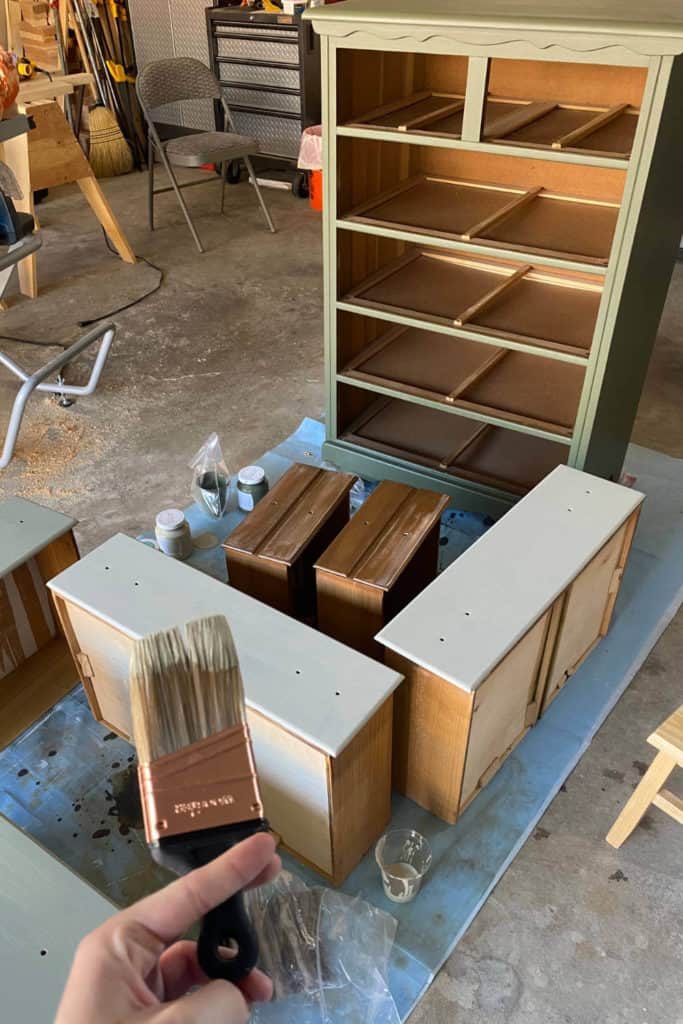 Painting chest of drawer, drawer fronts.