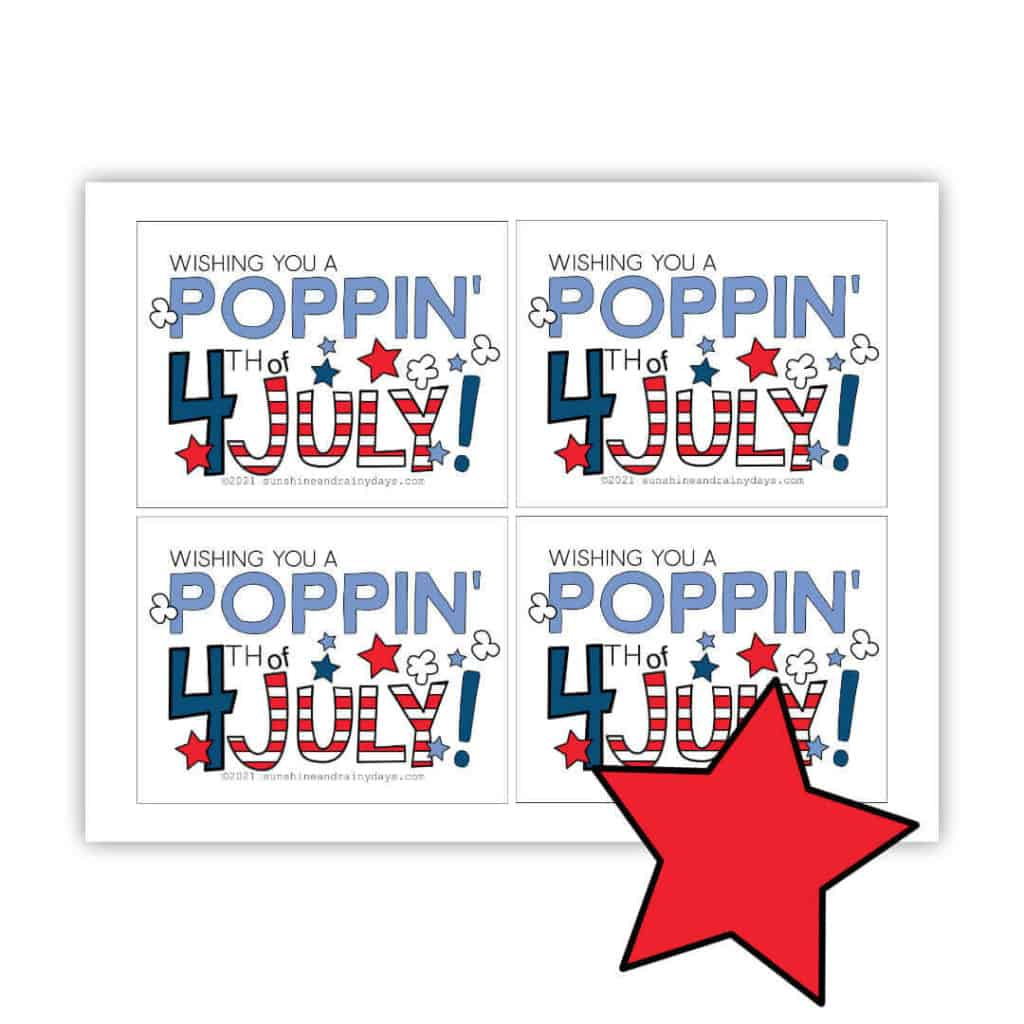 Poppin' 4th of July Microwave Popcorn Printable