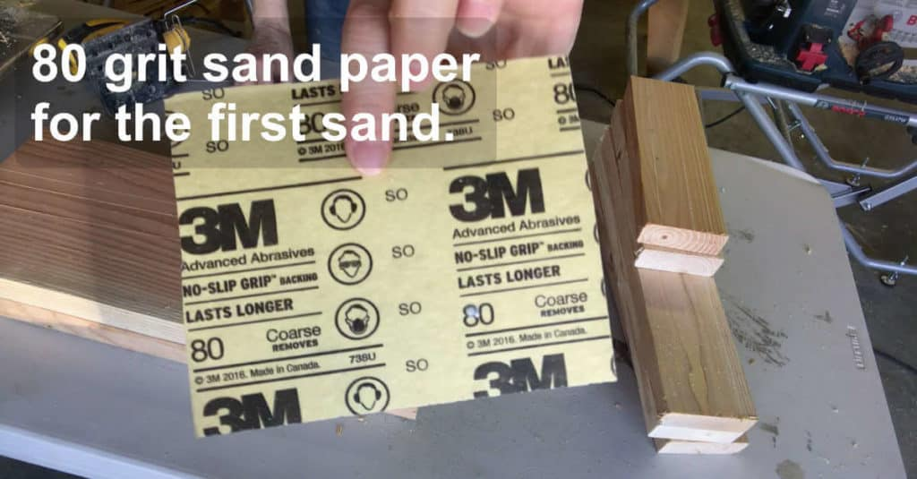 Using 80 grit sandpaper for the first sand on bench pieces.