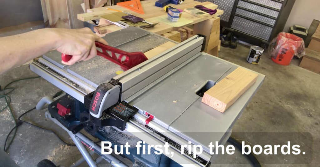 Ripping 2 x 4 boards on a table saw.