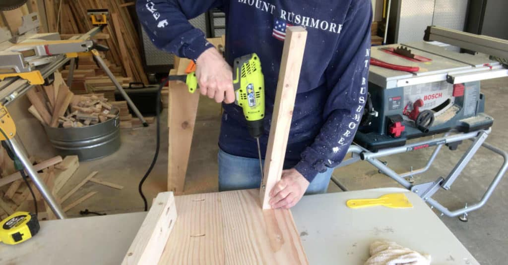 Attaching bench legs with pocket hole screws.
