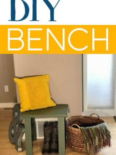 Small DIY Bench styled with a pillow, basket, boots, and artwork!