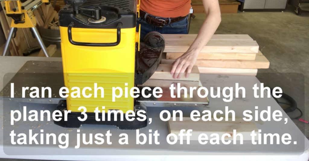 Running lumber through a Dewalt planer to build a bench.