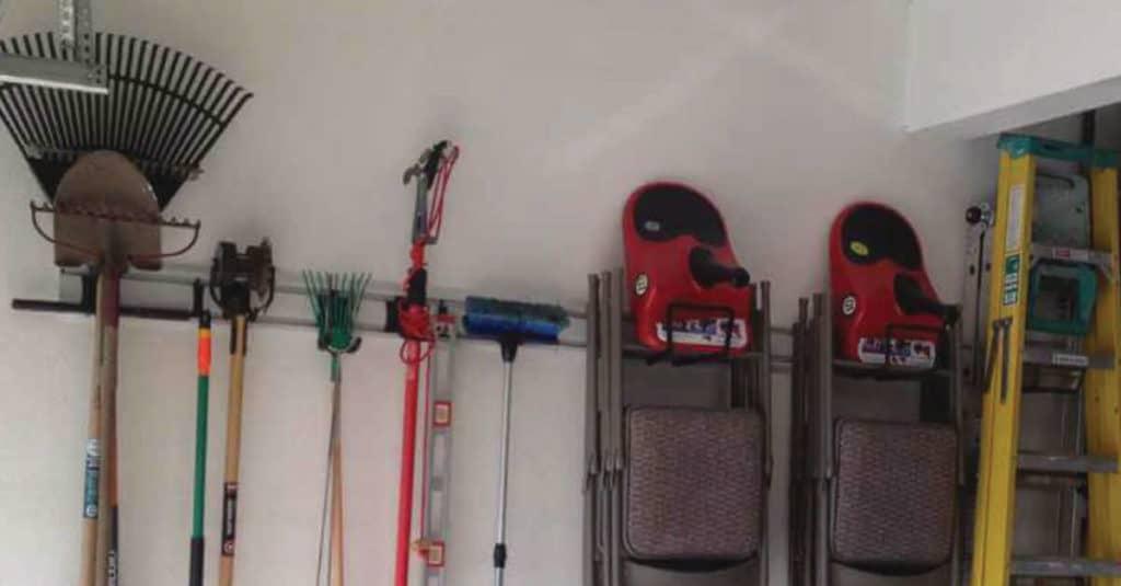 Vertical storage in the garage.