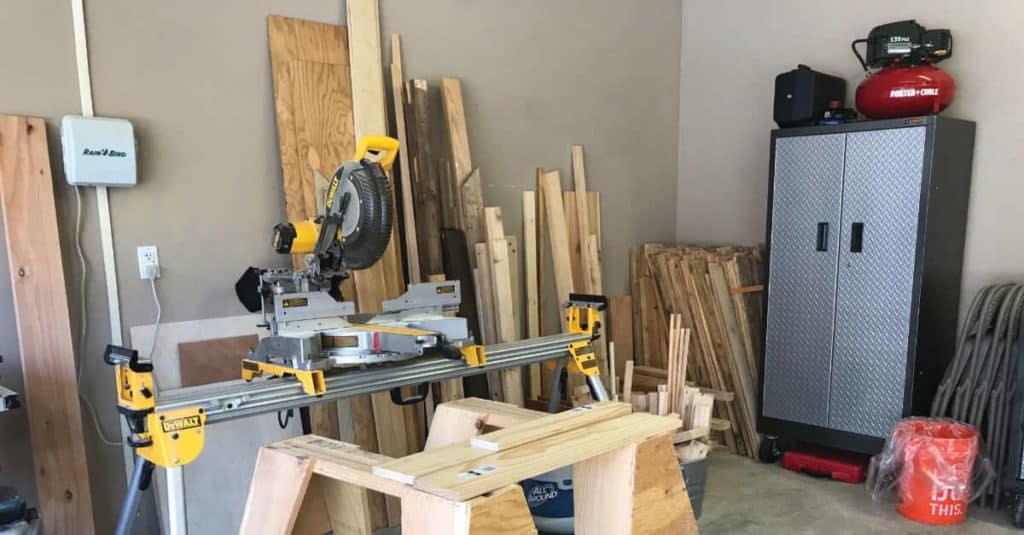 Workshop space in garage.