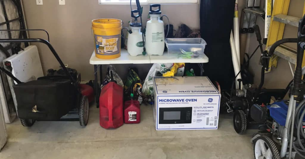 Using what you have to organize your garage.