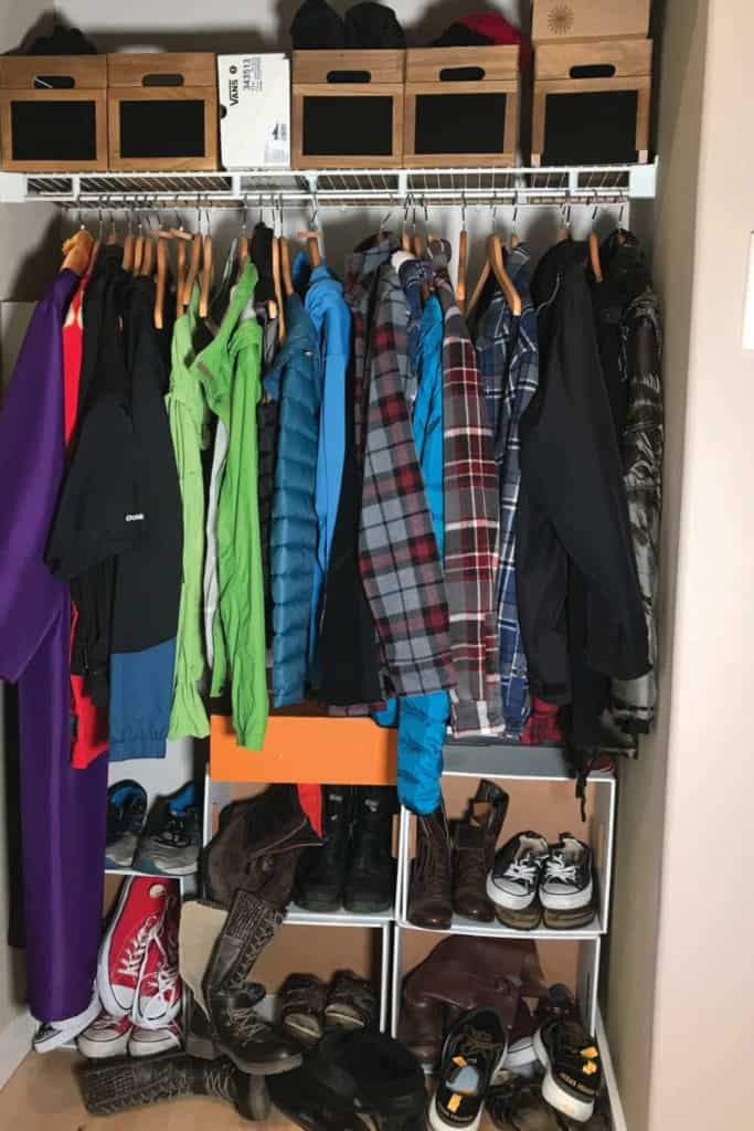 Coat closet ready to be converted to a mudroom nook!