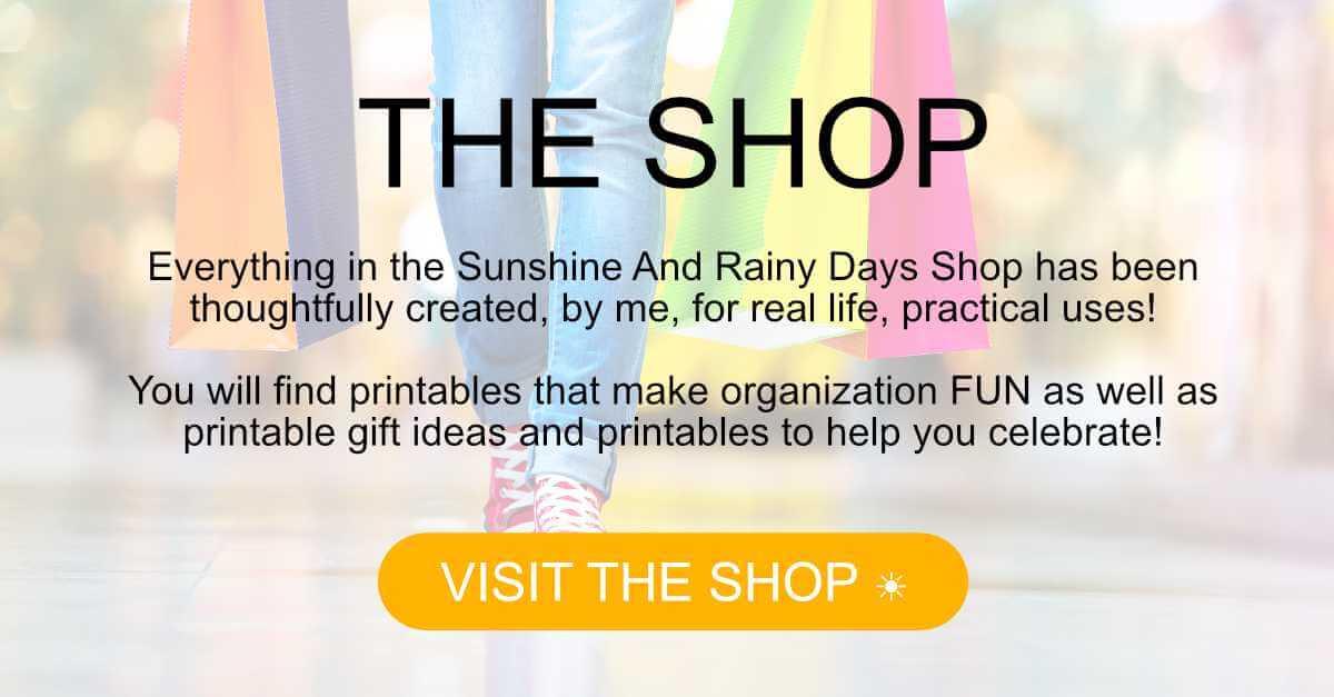 Sunshine And Rainy Days Shop Button